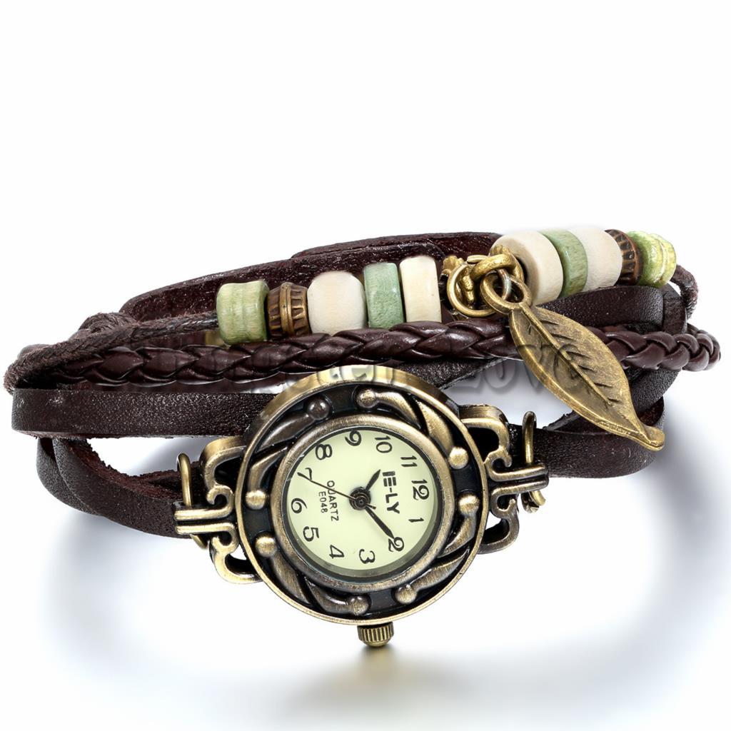Women Leather Bracelet Watch Women Dress Watches Leaf Pendant Vintage Quartz Analog WristWatch pulseira feminina(China (Mainland))