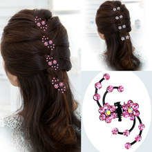 2016 New Fashion 6Pcs Girls Crystal Snowflake Hair Clips Hair Pins Headwear Crystal Accessories Hair Clips Wholesale(China (Mainland))