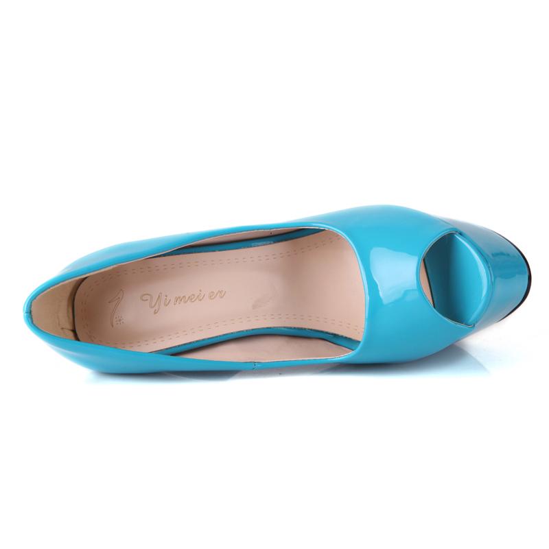 2015 New Women Peep Toe High heel shoes Sexy Womens Thin Heels Pumps Fashion Black Apricot Blue Ladies Platform Red bottom Shoes