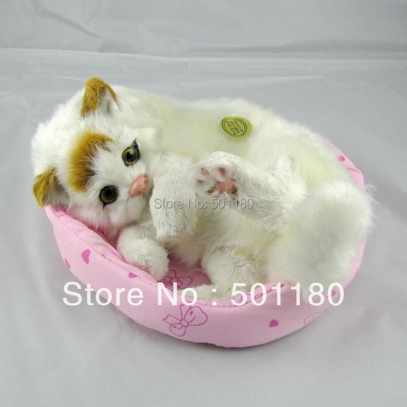 birthday gift free shipping unique cat toys mini plush cat animated toy cat(China (Mainland))