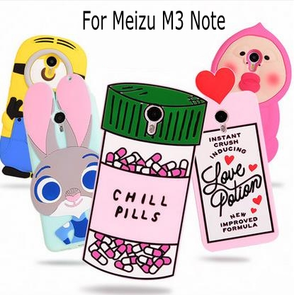 3D Cartoon ZOOTOPIA Bunny Love Potion Chill Pills Minion boy tears soft silicone case cover Meizu M3 note Meilan Note 3
