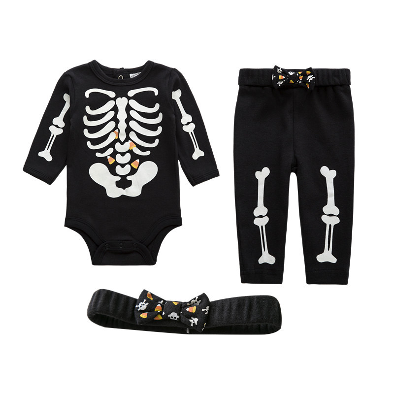 Unisex Baby Boy Girl Clothes Romper,Pants & Headband 3-Piece Clothing Set Infantil Long Outfits Suit Skeleton Glow in The Night(China (Mainland))