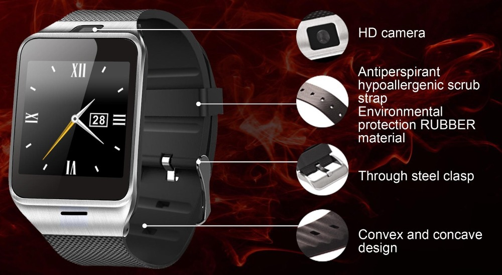 Original NFC GV18 bluetooth Wrist Watch with camera android smart watch support SIM smartwatch for iPhone Android Smart Phone(China (Mainland))