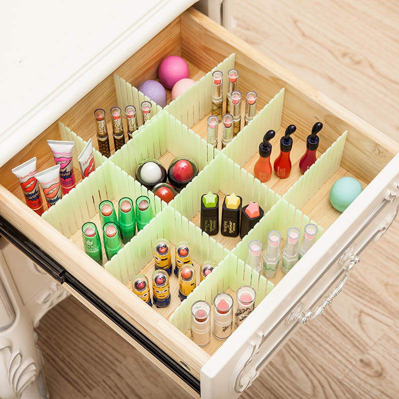 3PCs Storage Drawer Holders Partition Divider Clear Up Enlarge Space Fit Cosmetic Organizer Storage Box For Jewelry GPPS 50*8cm(China (Mainland))
