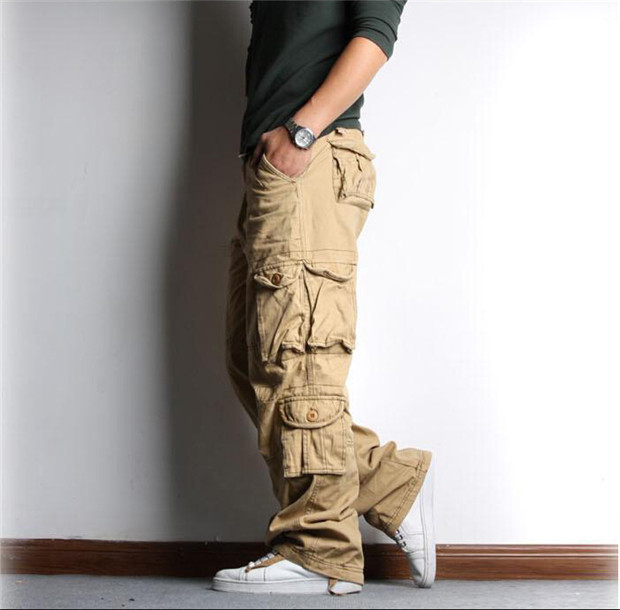 the gallery for gt baggy khaki cargo pants for men