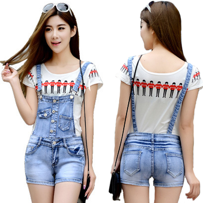 Lastest Rompers Womens Jumpsuit Summer 2016 Female Denim Jumpsuit Shorts