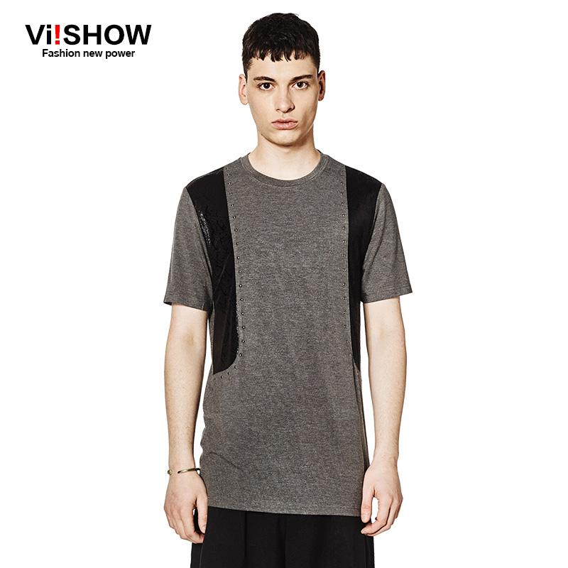 Viishow Brand Clothing T Shirt Summer Dark Gray Rivets Design Top Tee Shirt Casual Mens Basketball Tee Shirt TD94762(China (Mainland))