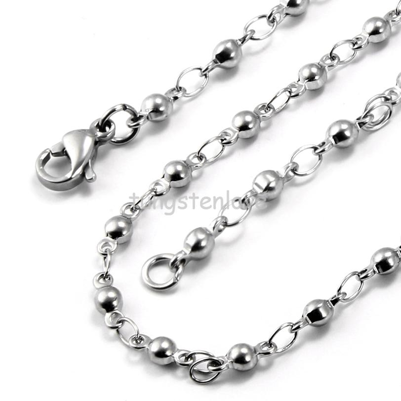 22 inch Stainless Steel Link Necklaces Silver tone Military Dog Tag Ball Chain Necklace Gifts for Women Men 3mm Width(China (Mainland))