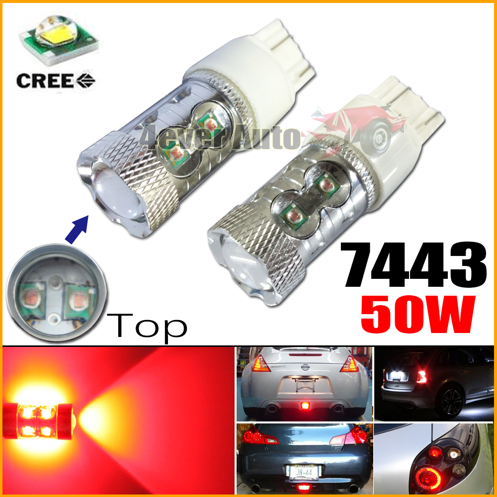 Red High Power Max 50W 10 CREE LED 7443 T20 7444NA LED Bulbs for Front Rear Turn Signal Tail lights,Daytime Running DRL Lights(China (Mainland))