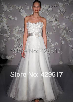 New 2015 A-line White gowns Bridal Sash Long Chinese Wedding Dress Sweep train()