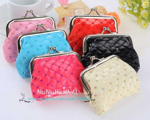 Brand new cute fashion women coin purse girls wallet mini pouch clutches messager bag Sequins 6 candy colors - Niu Household store