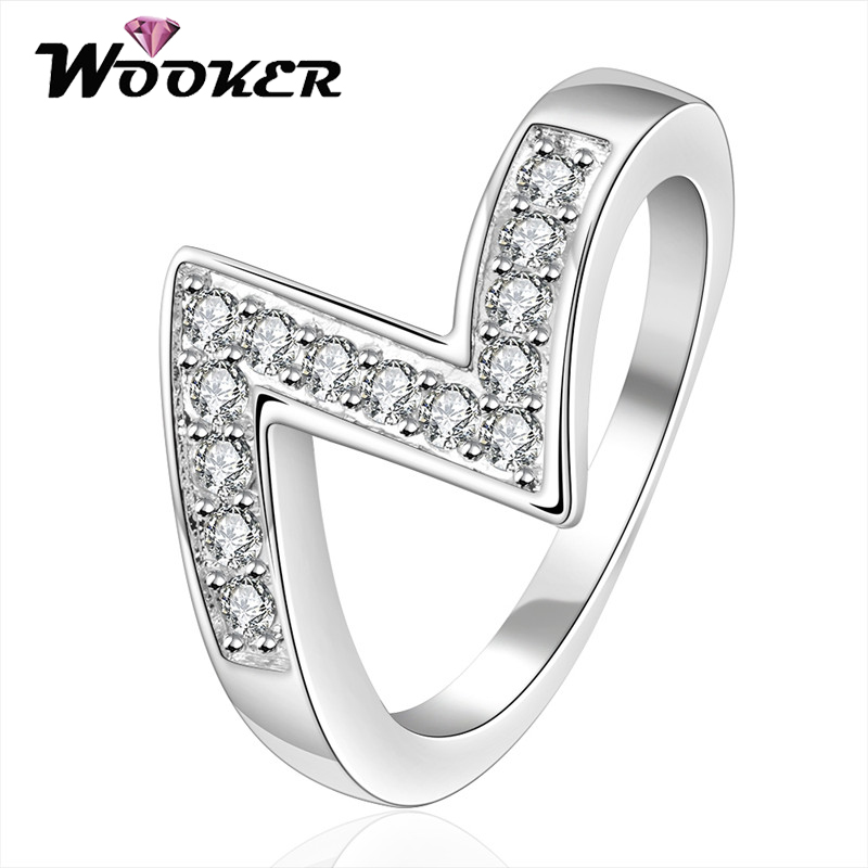 WOOKER Plated Silver Exaggerated Z Finger Rings Flash Zircon Originality Special Ring High Quality Jewelry Wholesale JZLKN069(China (Mainland))