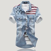 2015 New Top Fashion Regular Solid Cotton Camisa Men's Vintage Short Sleeve Denim Shirt Flag Wind Mens Shirts Jeans Discounts(China (Mainland))