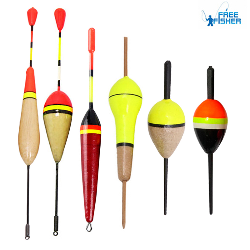 10Pcs 6 Different Options Fishing Float Horizontal Vertical Buoy Wood Pesca Tackle Accessories Products Set Floats Fishing