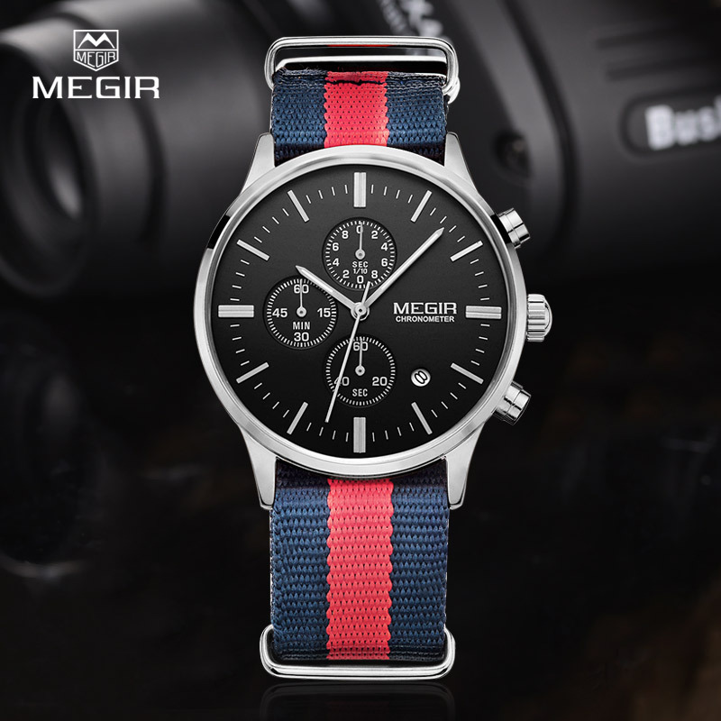 MEGIR casual chronograph military water resistant quartz watch men luminous canvas strap wristwatch 2011 free shipping