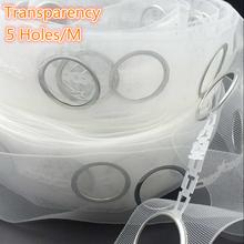 Acessórios de cortina ilhós cortina fita de poliéster transparente 5 furos / contém o anel de 5 M / roll(China (Mainland))