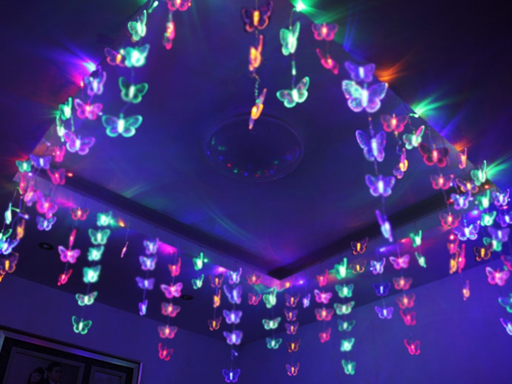3x0 7m lovely butterfly net led string light lamp ceiling for Room decor led lights