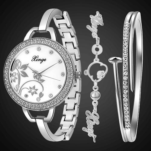 Women's Luxury Jewelry Czech Stones Slim Chain Band Wrist Watch + 2 Bracelets Store 49(China (Mainland))