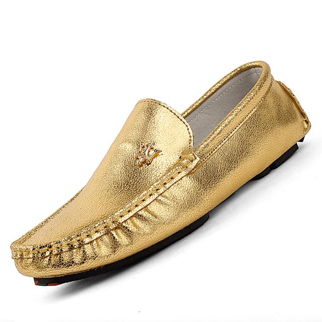 Новая тенденция серебро золото мужчины мокасины Британский твердый кожаный вождения ...