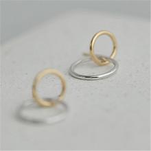 BOAKO 925 Sterling Bông Tai Nữ Hàn Quốc vòng tai vuông bèo Bông Tai bạc Vàng aretes Đảng earing Tặng Bộ trang sức B5(China)
