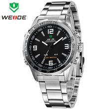Weide moda de lujo analógico Digital LED Dual Time Display hombres de relojes deportivos cuarzo de japón negro completo acero reloj militar