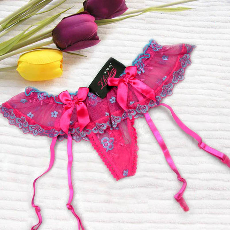 Hot Selling Women s Sexy Bowknot strip Crotchless Garter Belt Open Crotch Garter for Wedding Underwear