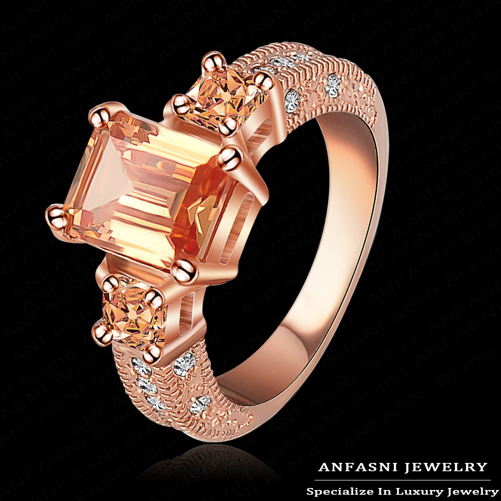 Top Christmas Gift 18K Rose Gold/Platinum Plated Ring Elegant Ring Micro Inlay SWA Stellux Austrian Champagne Crystal Ri-HQ1018(China (Mainland))
