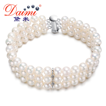 [Daimi] 925 Silver Natural Freshwater Pearl Bracelets For Women 2014 New Free Shipping ROMANTIC B
