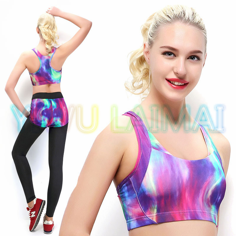 YIWU LAIMAI 2016 Tight Running Vest Top Quality Designer very new Purple Galaxy Running Sports Workout Yoga Bra for women Summer(China (Mainland))