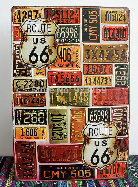 Route 66 car plates painting vintage tin sign bar pub home Decoracion de bares vintage