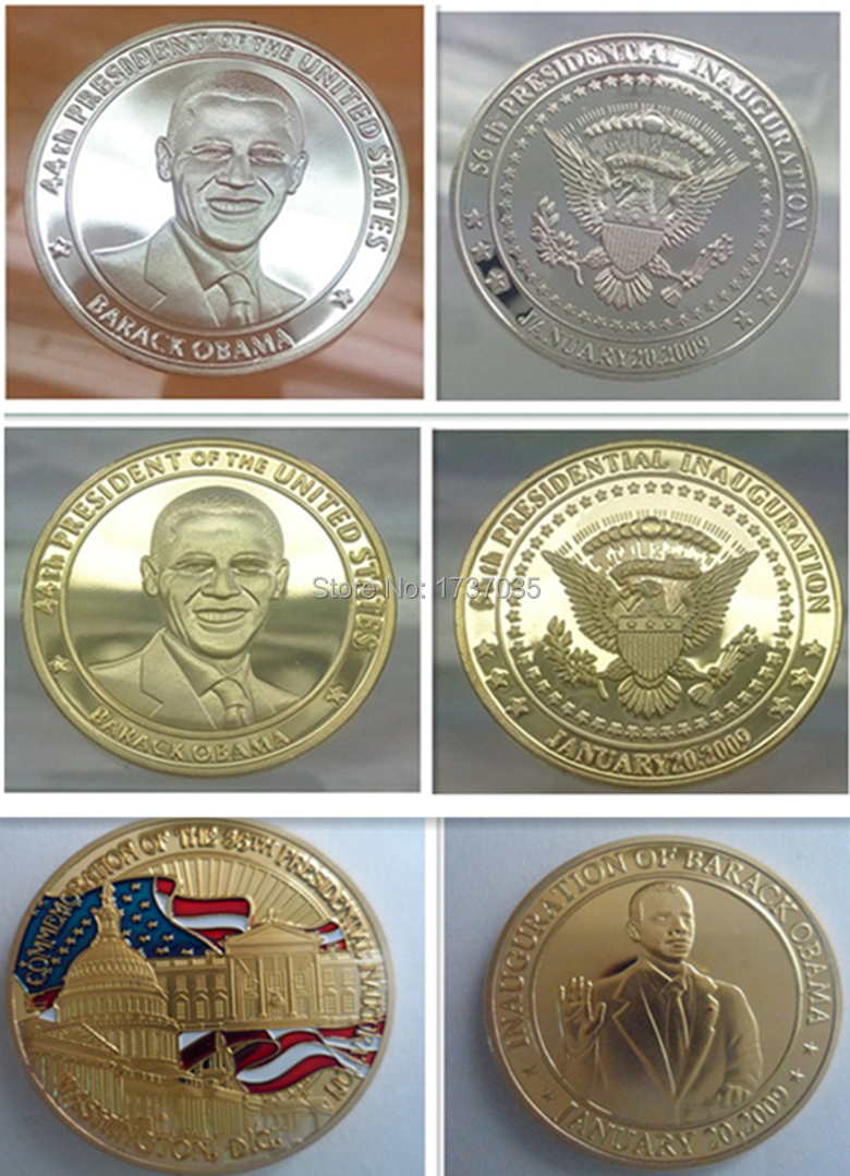 Mix 3pcs/lot INAUGURATION OF BARACK OBAMA replica Souvenir Coins,President Obama American gold/silver plated coin(China (Mainland))