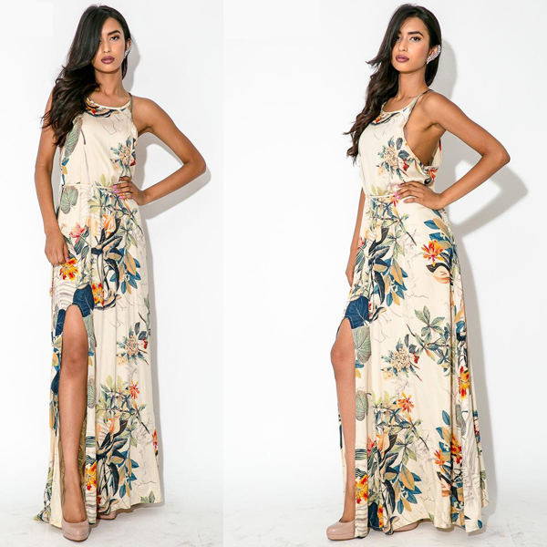 Chiffon Long Maxi Dress 2015 Women Summer Vestido Longo De Festa Sexy Floral Bohemian Dresses Casual Chiffon Long Maxi Dress