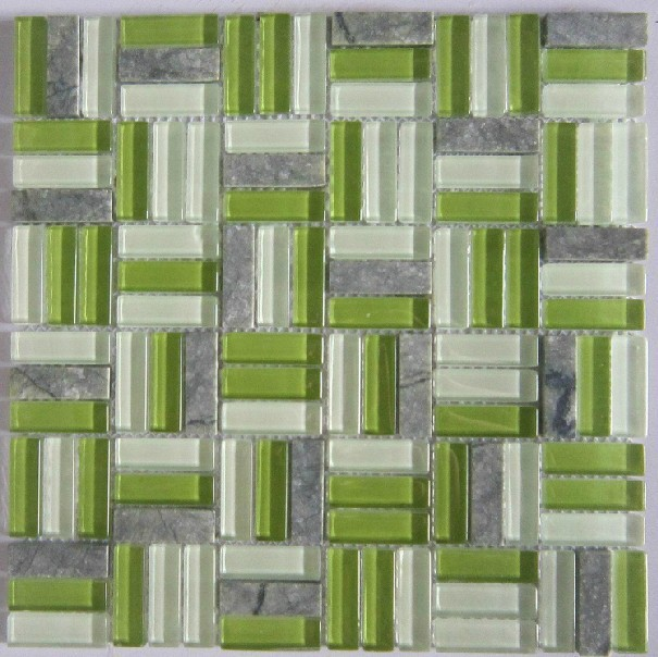 Green Glass Mosaic Blend Stone Mosaic Tile SGMT071 Grey Stone Mosaic