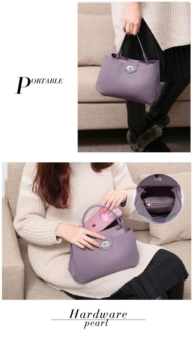 Trendy Fashion Hobo Bag Double Layered Elegant Hand Bag Twist Lock Korean Style Designer Simple Lady Single Shoulder Bag
