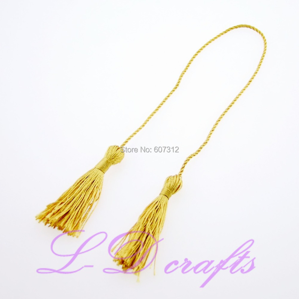New Design 10PCS Gold Terylene Two Head Tassels Bookmark Invitation Card Diy Calendar Candy Curtain Fringe Free Shipping(China (Mainland))