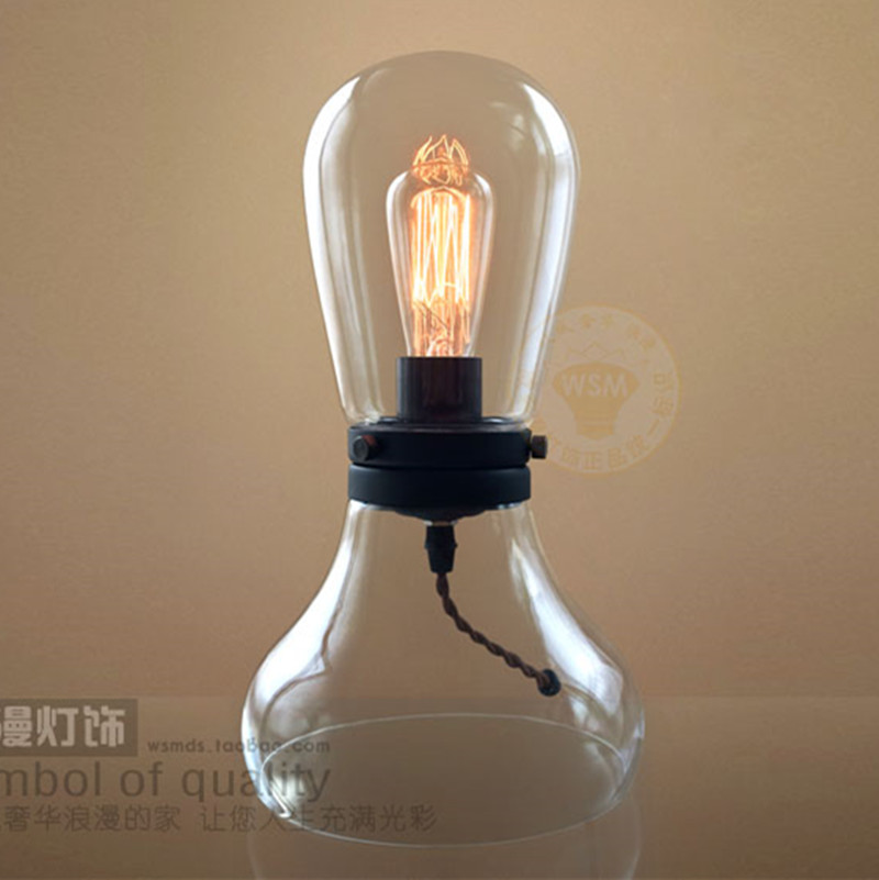 glass table lamp retro modern edison bulb novelty desk reading light. Black Bedroom Furniture Sets. Home Design Ideas