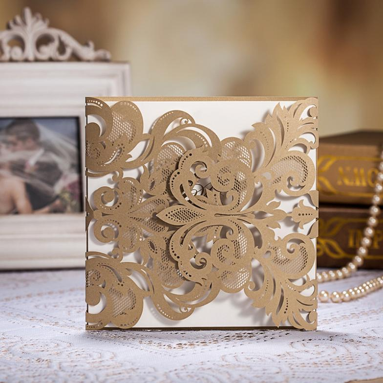 All For Wedding Wedding Supplies Wedding Invitations Vintage Laser Cut Wedding Invitations Gold 50pcs With Free Shipping(China (Mainland))