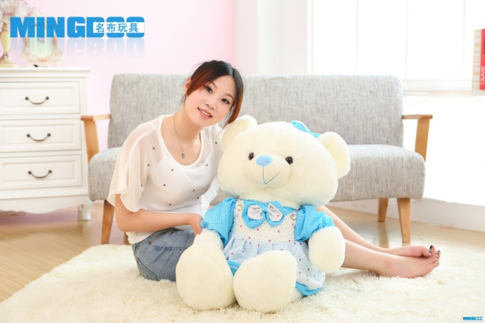 big size lovely teddy bear toy blue plush princess skirt teddy bear doll gift about 85cm(China (Mainland))