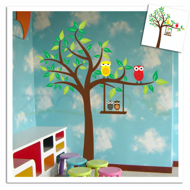 owls on colorful tree for kids room animal wall decals ZooYoo9069 wall decor removable pvc wall sticker home decoration DIY(China (Mainland))