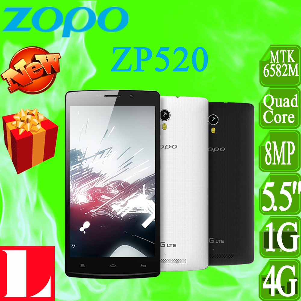 Case Gift,ZOPO ZP520 4G LTE Cell Phone MTK6582M Quad Core 1.3GHz 5.5Inch IPS 960*540 Screen 1GB RAM 8GB ROM Android 4.4 8.0MP(China (Mainland))