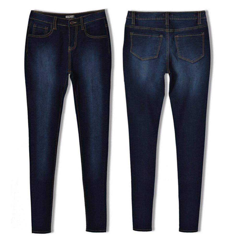 FUNOC 2016 Autumn Winter Woman Blue Denim Skinny High Waist Elastic Jeans Pencil Slim Pants Stretch Waist Bottoms Feminina G