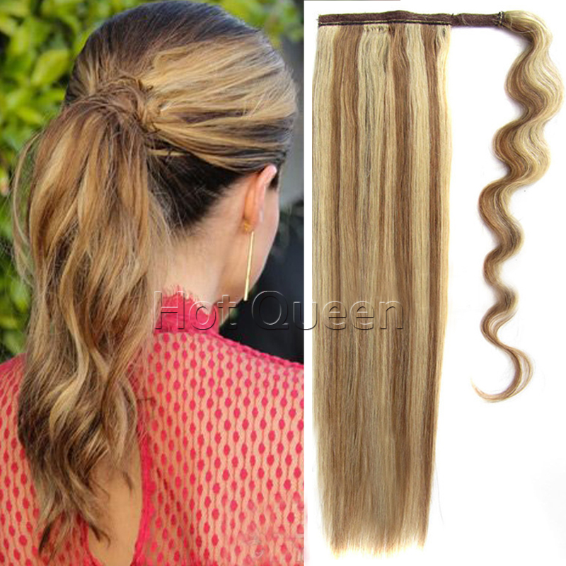 Drawstring Ponytails Middle Length Remy Straight Ponytail 22in Clip In Human Hair Extensions 80g Brazilian Human Hair Ponytails