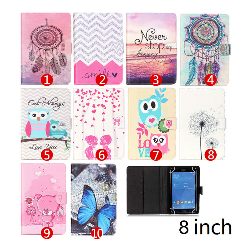 """Printed Stand cases Leather Case For Cube Talk 8 U27GT /Colorfly CT801 /HP Compaq 8 8"""" Universal Tablet cover Y4D69D(China (Mainland))"""