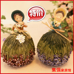 Free shipping Rustic resin hula skirt doll resin doll home decoration fashion bundle