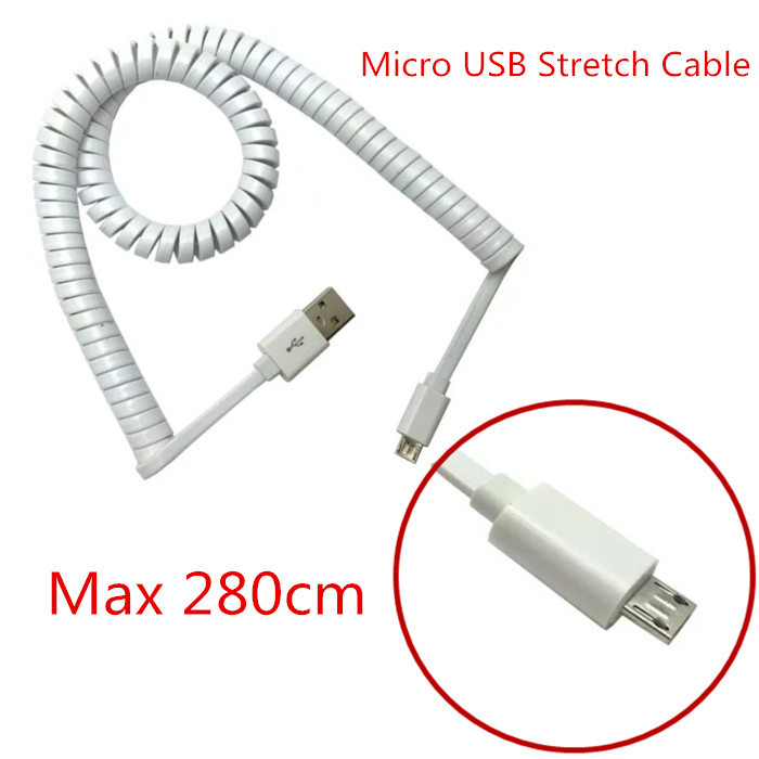 NEW 2015 10FT Micro Usb Spring Coiled Cable Extension portable retractable usb Data Charging for Samsung Galaxy S6 S4 HTC LG 3M(China (Mainland))