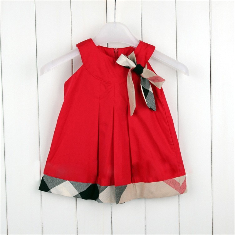 Vestidos Summer 2015 Sleeveless Girls Dress Plaid Children