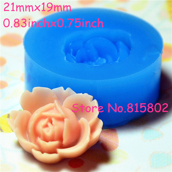 Free Shipping HYL019U Flower / Rose Silicone Push Mold 21mm - Cell Phone Deco Wedding Cake Candy Molds, Soap Mould Jewelry Mould(China (Mainland))