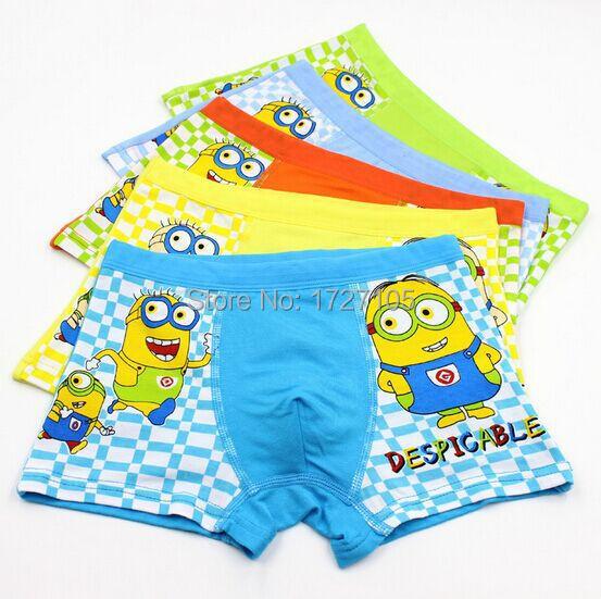 free shipping! 2pcs Random color Hot selling Modal boxer kids underwear despicable me minion kids panties kids boys underwear(China (Mainland))