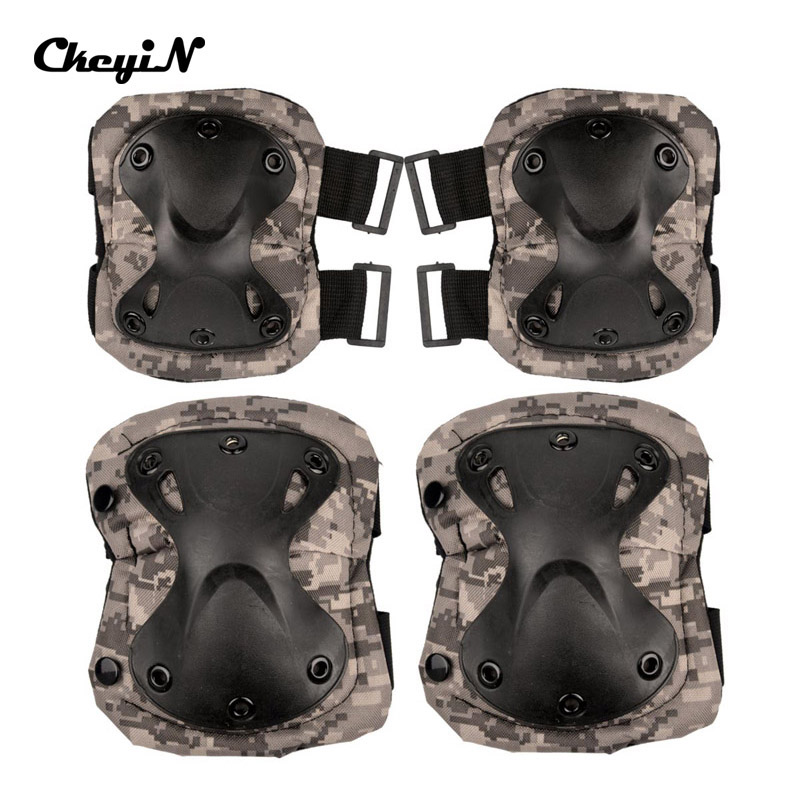 Tactical Military Outdoor Sport Shell Knee Pad Elbow Pad 4-in-1 X-shaped CS Outdoor Equipment YD071_p(China (Mainland))