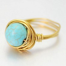 Fashion Turquoise Quartz Gems Round Cut Natural Stone Rings Gold Plated Ring For Womens Wedding Rings 2015